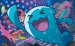 >_< :d creature door gen_2_pokemon house mizutani_megumi official_art open_mouth outdoors pokemon pokemon_(creature) pokemon_trading_card_game smile solo stairs standing star tree window wobbuffet