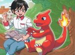 1boy :d black_hair blue_eyes book brown_eyes charmander_trainer_(pokekyun) charmeleon chimney claws creature denim eye_contact fangs fiery_tail fire flame gen_1_pokemon happy holding holding_book horn house jeans komayama_akira looking_at_another male_focus official_art open_book open_mouth pants pocket pokemon pokemon_(creature) pokemon_trading_card_game sitting smile tail tree window