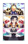 1boy absurdres armor asclepius_(fate/grand_order) avicebron_(fate) bangs black_hair black_jacket blonde_hair cape double_v emotional_engine_-_full_drive fate/apocrypha fate/grand_order fate_(series) fingerless_gloves gloves green_eyes hair_between_eyes hands_up hat highres hood hood_up hooded_jacket jacket long_hair long_sleeves looking_at_viewer male_focus mandricardo_(fate/grand_order) mask multicolored_hair multiple_boys nijiomu open_mouth parody silver_hair solo sparkle star two-tone_hair upper_body v white_hair