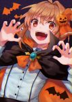 13_(spice!!) 1girl :d absurdres animal_print bangs bat bat_print black_cloak blonde_hair blue_nails blush brooch buttons chromatic_aberration claw_pose cloak collared_shirt commentary_request dutch_angle evil_smile eyebrows_visible_through_hair fang halloween halloween_costume hands_up highres jack-o'-lantern jewelry long_sleeves looking_at_viewer nail_polish open_mouth orange_eyes orange_neckwear orange_ribbon outstretched_hand pumpkin purple_nails ribbon rumia shirt short_hair sidelocks sky smile solo star_(sky) starry_sky teeth tongue touhou upper_body white_shirt