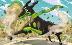blank_eyes blue_sky clouds cloudy_sky creature day dog_focus full_body gen_7_pokemon no_humans official_art pokemon pokemon_(creature) pokemon_trading_card_game rock running sky solo zygarde zygarde_(10)