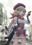 1girl arm_warmers assault_rifle bangs beret blonde_hair blue_eyes blush braid breasts chocolate fn_fnc fnc_(girls_frontline) food girls_frontline gun hair_ornament hair_ribbon hat highres holding holding_food holding_gun holding_weapon layered_skirt long_hair medium_breasts mouth_hold outdoors pouch red_headwear ribbon rifle shirt short_sleeves single_braid skirt solo suspender_skirt suspenders weapon white_shirt