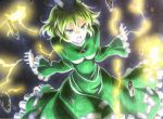 1girl angry beluo77 black_background colored_pencil_(medium) dress electricity floating floating_object graphite_(medium) green_dress green_hair hands_up hat long_skirt marker_(medium) ofuda ofuda_on_clothes short_hair skirt soga_no_tojiko solo tate_eboshi touhou traditional_media