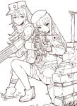 2girls aiming bangs beret blunt_bangs boots character_request closed_mouth facial_mark girls_frontline gloves grass greyscale gun hair_between_eyes hair_ornament hat head_tilt hk416_(girls_frontline) holding holding_gun holding_weapon itou_(onsoku_tassha) jacket leg_strap long_hair long_sleeves monochrome multiple_girls one_knee parted_lips pleated_skirt scarf scope simple_background skirt wall weapon white_background