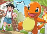 1boy :d black_hair blue_eyes blue_sky brown_eyes charmander charmander_trainer_(pokekyun) claws clouds cloudy_sky creature fangs fence fiery_tail fire flame gen_1_pokemon glasses grass holding holding_eyewear house komayama_akira looking_at_another male_focus mountain official_art one_eye_closed open_mouth pokemon pokemon_(creature) pokemon_trading_card_game running sky smile stairs tail tears window