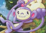 ambipom black_eyes creature crossed_legs full_body gen_4_pokemon grin happy lying monkey no_humans official_art on_back pokemon pokemon_(creature) pokemon_trading_card_game saitou_kouki smile tree