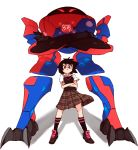 1girl black_hair brown_eyes crossed_arms flat_chest full_body gunbuster_pose looking_down mecha peni_parker plaid plaid_skirt pleated_skirt rtil school_uniform serious short_hair skirt socks sp//dr spider-man:_into_the_spider-verse spider-man_(series) sweater_vest top_wo_nerae!
