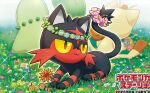 :3 cat cat_focus chikorita closed_mouth copyright_name creature flower full_body gen_1_pokemon gen_2_pokemon gen_7_pokemon grass happy kirisaki litten lying meowth no_humans official_art on_stomach pokemon pokemon_(creature) pokemon_trading_card_game sitting yellow_eyes