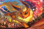:o black_eyes building city clouds cloudy_sky creature egawa_akira flareon full_body gen_1_pokemon lamppost no_humans official_art pokemon pokemon_(creature) pokemon_trading_card_game running sky solo third-party_source twilight