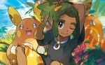 1boy :d alolan_form alolan_raichu backpack bag black_eyes black_shirt blue_eyes blue_sky closed_mouth creature dark_skin dark_skinned_male day flower gen_7_pokemon grass green_hair happy hau_(pokemon) iribi_you male_focus ocean official_art one_eye_closed open_mouth outdoors pokemon pokemon_(creature) pokemon_(game) pokemon_sm pokemon_trading_card_game shirt short_sleeves sidelocks sitting sky smile sun sunlight third-party_source tied_hair