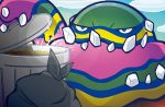 alolan_muk blue_eyes blue_sky clouds cloudy_sky creature day gen_7_pokemon holding mahou multicolored no_humans official_art outdoors pokemon pokemon_(creature) pokemon_trading_card_game sky solo standing third-party_source trash trash_bag trash_can