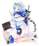 1girl absurdres ahoge bare_shoulders blue_bow blue_eyes blue_hair blue_scarf blush bow commentary dress frilled_pillow frills from_behind girls_frontline gun hair_ornament hairclip hat hat_bow highres holding inkwell looking_at_viewer looking_back merry_christmas no_shoes off-shoulder_dress off_shoulder pillow quill ribbon scarf snow snow_globe socks striped striped_ribbon tsukiyo_(skymint) weapon white_bow white_dress white_headwear white_legwear white_ribbon zas_m21_(girls_frontline) zastava_m21