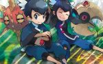 1boy 1girl ^_^ black_eyes black_hair closed_eyes creature floating fuu_(pokemon) grass gym_leader holding holding_poke_ball iribi_you looking_at_viewer lunatone official_art outdoors poke_ball poke_ball_(generic) pokemon pokemon_(creature) pokemon_(game) pokemon_oras pokemon_trading_card_game ran_(pokemon) siblings sidelocks sitting sitting_on_ground solrock third-party_source tied_hair twins