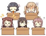 >_< 5girls :d =_= ? bang_dream! bangs black_hair blonde_hair blunt_bangs blush blush_stickers box brown_hair cardboard_box chocolate_cornet commentary_request eating eyebrows_visible_through_hair food hair_between_eyes hair_flaps hair_ornament hair_ribbon hanasakigawa_school_uniform hanazono_tae hasewox heart highres holding holding_food ichigaya_arisa in_box in_container jitome long_hair looking_at_viewer medium_hair multiple_girls notice_lines open_mouth ponytail poppin'party ribbon school_uniform shaded_face short_hair sidelocks simple_background smile sparkle star star_hair_ornament sweatdrop toyama_kasumi twintails upper_body ushigome_rimi v white_background x_hair_ornament xd yamabuki_saaya yellow_ribbon