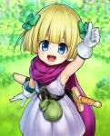 1girl arm_up armpits belt blonde_hair bow child cloak dragon_quest dragon_quest_v dress endou_hiroto gloves hair_bow hero's_daughter_(dq5) highres looking_at_viewer open_mouth outdoors pouch purple_cloak ribbon sheath sheathed short_hair sleeveless sleeveless_dress smile solo sword thumbs_up upper_body weapon white_dress white_gloves