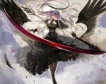 1girl absurdres angel angel_wings bangs black_dress black_footwear black_gloves black_legwear blood breasts clouds dated dress feathers fingerless_gloves gloves grey_hair halo highres holding holding_scythe holding_weapon long_hair nagasawa_tougo original pantyhose purple_neckwear scythe solo twitter_username weapon wings