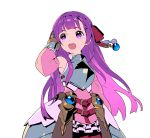 1girl :d absurdres armor armored_dress bangs bare_shoulders blunt_bangs bow breastplate copyright_request detached_sleeves dress faulds gauntlets hair_bow hair_ornament hand_up highres long_hair long_sleeves nagisa_kurousagi open_mouth pink_dress purple_hair red_bow simple_background smile solo upper_teeth violet_eyes white_background