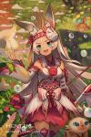 1girl :d animal animal_ear_fluff animal_ears arrow artist_name bangs bare_shoulders blue_eyes bow_(weapon) breasts cat commentary dark_skin detached_sleeves dragalia_lost english_commentary eyebrows_visible_through_hair fake_horns gloves hair_between_eyes hand_up hentaki highres holding holding_bow_(weapon) holding_weapon horned_mask long_hair long_sleeves mask mask_on_head open_mouth parted_bangs quiver rabbit_ears red_skirt sarisse_(dragalia_lost) skirt small_breasts smile solo upper_teeth very_long_hair watermark weapon web_address white_gloves white_hair white_sleeves