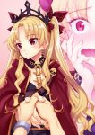 1girl bangs belt between_breasts black_dress blonde_hair blush bow bracelet breasts cape closed_mouth detached_collar dress earrings ereshkigal_(fate/grand_order) fate/grand_order fate_(series) gold_trim gradient gradient_background hair_bow highres holding_hands hoop_earrings infinity jewelry long_hair looking_to_the_side matsuryuu multiple_views open_mouth parted_bangs pink_background red_bow red_cape red_eyes skull solo_focus spine tiara two_side_up wavy_mouth