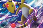 ampharos black_eyes creature energy full_body gen_2_pokemon no_humans official_art open_mouth pokemon pokemon_(creature) pokemon_trading_card_game shirai_satoshi solo third-party_source