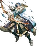 1boy alternate_costume arrow belt blue_eyes blue_hair boots bow_(weapon) chrom_(fire_emblem) fire_emblem fire_emblem_awakening fire_emblem_heroes full_body fur_trim gloves highres hino_shinnosuke official_art one_eye_closed quiver solo teeth tiara torn_clothes transparent_background weapon