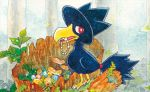 bird bird_focus claws creature full_body gen_2_pokemon looking_at_viewer mouth_hold murkrow no_humans official_art pokemon pokemon_(creature) pokemon_trading_card_game red_eyes sekio solo standing third-party_source