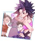 2boys 2girls :o arms_behind_back bangs bare_arms bare_shoulders belt black_eyes black_hair blue_border blue_shirt border breasts cabba caulifla collarbone crop_top crossed_arms d89im dark_skin dragon_ball dragon_ball_super earrings expressionless eyebrows_visible_through_hair eyelashes frown half-closed_eyes hand_in_hair hand_on_hip high_ponytail hit_(dragon_ball) jewelry kale_(dragon_ball) leaning leaning_to_the_side looking_at_viewer looking_back medium_breasts midriff multiple_boys multiple_girls navel outside_border pants ponytail purple_pants red_eyes shirt short_sleeves sideboob simple_background spiky_hair strapless striped teeth tubetop upper_teeth v-shaped_eyebrows white_background wristband