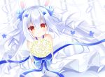1girl animal_ears azur_lane bangs bare_shoulders blue_flower blurry blurry_background blush bouquet closed_mouth commentary_request depth_of_field dress eyebrows_visible_through_hair flower grey_ribbon hair_between_eyes hair_flower hair_ornament hair_ribbon holding holding_bouquet laffey_(azur_lane) laffey_(white_rabbit's_oath)_(azur_lane) long_hair looking_at_viewer rabbit_ears red_eyes ribbon shikito silver_hair smile solo very_long_hair wedding_dress white_dress yellow_flower