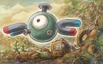 black_eyes clouds cloudy_sky creature day floating gen_1_pokemon magnemite magnet no_humans official_art outdoors plant pokemon pokemon_(creature) pokemon_trading_card_game screw single_eye sky solo sowsow third-party_source