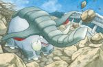 black_eyes blue_sky claws clouds cloudy_sky creature day donphan elephant full_body gen_2_pokemon kimura_naoyo no_humans official_art outdoors pokemon pokemon_(creature) pokemon_trading_card_game rock sky solo standing third-party_source tusks