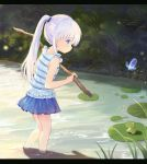 1girl animal bangs blue_butterfly blue_eyes blue_shirt blue_skirt blush bug butterfly child closed_mouth commentary_request day eyebrows_visible_through_hair frog holding insect kneepits leilin letterboxed lily_pad long_hair miniskirt naruse_shiroha outdoors pleated_skirt pond ponytail profile revision shirt silver_hair skirt sleeveless sleeveless_shirt standing stick striped striped_shirt summer_pockets very_long_hair wading water