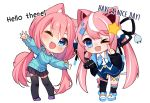 >_o 2girls ;d animal_ear_fluff animal_ears asymmetrical_legwear bangs black_jacket black_legwear black_skirt blue_dress blue_eyes blue_neckwear blue_sweater blush cable cat_ears chibi collaboration commentary dress english_commentary english_text eyebrows_visible_through_hair fang hair_between_eyes hair_bobbles hair_ornament heart hyanna-natsu index_finger_raised jacket kneehighs long_hair long_sleeves low_twintails multicolored_hair multiple_girls one_eye_closed open_clothes open_jacket open_mouth original outstretched_arms pink_hair pleated_skirt power_symbol print_neckwear puffy_long_sleeves puffy_sleeves purple_footwear shoes signature simple_background single_kneehigh single_thighhigh skirt sleeves_past_wrists smile spread_arms standing star streaked_hair sweater thigh-highs twintails very_long_hair white_background white_footwear white_hair yuniiho