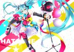 1girl 39 aqua_bow aqua_eyes aqua_hair balloon bare_shoulders black_hair black_sleeves bow bowtie character_name commentary confetti cube detached_sleeves dress frilled_skirt frills full_body hair_ornament hair_ribbon hatsune_miku headphones holding_microphone_stand kikori70796699 knees_up long_hair loudspeaker magical_mirai_(vocaloid) microphone_stand outstretched_arm petticoat pink_bow ribbon shoes skirt sleeveless sleeveless_dress smile solo star thigh-highs twintails v-shaped_eyebrows very_long_hair vocaloid yellow_bow
