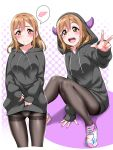 1girl bangs between_legs black_hoodie black_legwear blush brown_eyes brown_hair commentary_request drawstring embarrassed halftone halftone_background hand_between_legs highres hood hood_down hood_up hoodie hoodie_lift horned_hood kunikida_hanamaru lifted_by_self long_hair long_sleeves looking_at_viewer love_live! love_live!_sunshine!! multiple_views no_pants outline paint_splatter panties panties_under_pantyhose pantyhose purple_background shoes sitting sleeves_past_wrists sneakers spoken_blush thighband_pantyhose underwear w white_outline yopparai_oni