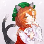 1girl animal_ears bow bowtie brown_hair cat_ears cat_tail chen eyebrows_visible_through_hair green_headwear hat jewelry long_sleeves looking_at_viewer mob_cap multiple_tails nekomata paw_pose red_vest ribbon shirt short_hair single_earring solo tail touhou two_tails usamata_nozomi vest white_bow white_neckwear white_ribbon white_shirt yellow_ribbon