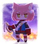 1girl 7th_dragon 7th_dragon_(series) animal_ear_fluff animal_ears bangs belt belt_buckle bike_shorts black_footwear black_shorts blue_jacket boots buckle cat_ears chibi closed_mouth full_body gloves green_eyes hair_between_eyes hair_bobbles hair_ornament harukara_(7th_dragon) holding holding_sword holding_weapon jacket knee_boots long_sleeves looking_at_viewer naga_u one_side_up pink_hair red_gloves short_shorts shorts solo standing striped striped_legwear sword thigh-highs thighhighs_under_boots v-shaped_eyebrows weapon white_belt