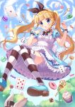 1girl :o absurdres animal_ears back_bow black_bow blonde_hair bloomers blue_dress blue_eyes blush bow candy card clouds cloudy_sky commentary dress eyebrows_visible_through_hair floating food frilled_dress frills hair_bow hat highres key knees_together_feet_apart layered_dress lollipop looking_at_viewer open_mouth original outdoors playing_card rabbit rabbit_ears ribbon short_sleeves sidelocks siooooono sky solo sparkle striped striped_legwear thigh-highs top_hat tree twintails underwear wrist_ribbon