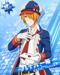 cap character_name idolmaster idolmaster_side-m jacket letter necktie orange_hair red_eyes short_hair tsukumo_kazuki