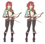 1girl absurdres arrow blue_capelet blue_eyes boots bow_(weapon) brown_footwear brown_gloves brown_pants capelet closed_mouth contrapposto gloves head_tilt highres holding holding_bow_(weapon) holding_weapon looking_at_viewer mismatched_gloves multiple_views nagisa_kurousagi original pants partly_fingerless_gloves quiver red_legwear redhead simple_background smile standing striped striped_legwear vest weapon white_background white_gloves