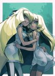 2girls absurdres bangs blonde_hair breasts dress green_eyes grin highres hug lillie_(pokemon) long_hair looking_at_viewer lusamine_(pokemon) mother_and_daughter multiple_girls pokemon pokemon_(game) pokemon_sm robomb small_breasts smile standing upper_body white_dress