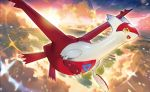 :d chibi_(shimon) claws clouds cloudy_sky creature flying full_body gen_3_pokemon happy latias legendary_pokemon no_humans official_art open_mouth outdoors pokemon pokemon_(creature) pokemon_trading_card_game sky smile solo third-party_source twilight yellow_eyes