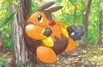 black_eyes claws closed_mouth creature day forest full_body gen_5_pokemon kimura_naoyo nature no_humans official_art outdoors pig pignite pokemon pokemon_(creature) pokemon_trading_card_game solo standing third-party_source tree