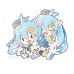 1girl band_uniform blue_jacket blush_stickers boots character_doll chibi closed_eyes dated doll epaulettes full_body gloves hair_ornament hair_ribbon hairclip hat hat_feather hatsune_miku holding holding_doll jacket light_blue_hair long_hair open_mouth pantyhose ribbon sangatsu_youka sitting skirt smile snowflake_print solid_oval_eyes twintails twitter_username very_long_hair vocaloid white_background white_footwear white_gloves white_skirt yuki_miku yuki_miku_(2020)