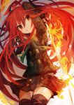 1girl absurdres arms_up bangs black_legwear black_skirt buttons eyebrows_visible_through_hair hair_between_eyes highres holding holding_sword holding_weapon jewelry kaamin_(mariarose753) long_hair long_sleeves open_mouth pendant red_eyes redhead shakugan_no_shana shana skirt solo sword thigh-highs weapon