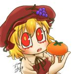 1girl aki_minoriko apron avatar_icon blonde_hair blouse chamaji commentary eyebrows_visible_through_hair food food_themed_hair_ornament fruit grape_hair_ornament grapes hair_between_eyes hair_ornament hat holding holding_food holding_fruit looking_at_viewer lowres mob_cap neck_ribbon open_mouth persimmon red_apron red_headwear ribbon signature solo touhou white_background