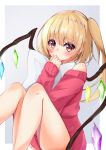 1girl alternate_costume blonde_hair blush commentary covered_mouth crystal ekidona feet_out_of_frame flandre_scarlet grey_background hand_up highres knees_up long_hair looking_at_viewer off-shoulder_sweater off_shoulder pillow pillow_hug raised_eyebrows red_sweater side_ponytail sitting sleeves_past_wrists solo sweater touhou wings