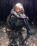 1girl an-94_(girls_frontline) bandaged_leg bandages bangs blonde_hair blood blood_on_face bloody_clothes bloody_hair blue_eyes full_body girls_frontline hairband long_hair open_mouth rain silence_girl sitting solo tactical_clothes tearing_up tears torn_clothes water wet