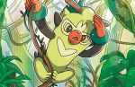 creature forest full_body gen_8_pokemon komayama_akira monkey nature no_humans official_art plant pokemon pokemon_(creature) pokemon_trading_card_game solo third-party_source thwackey vines yellow_eyes