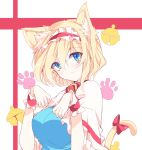 alice_margatroid animal_ears blonde_hair blue_dress blue_eyes bow breasts capelet cat_day cat_ears cat_paws cat_tail closed_mouth commentary_request dress eyebrows_visible_through_hair frilled_capelet frills hair_between_eyes hairband highres ichimura_kanata kemonomimi_mode lolita_hairband looking_at_viewer medium_breasts paw_pose paw_print paws red_bow red_hairband short_hair smile tail tail_bow touhou upper_body wrist_cuffs