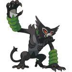 black_fur claws fangs gen_8_pokemon green_eyes grey_fur highres monkey no_humans official_art pokemon pokemon_(game) pokemon_swsh red_sclera zarude